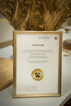 Urkunde des Landesehrenpreis für Lebensmittel