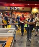 Mülheim: LAGA-Pressemitarbeiterin Lea Mispelkamp, Alexandra Hickmann, Adrian Lux, Marion Sommerer, Thomas Wiehe (alles Gewinner) und Büsch-Marketingleiterin Annett Swoboda.